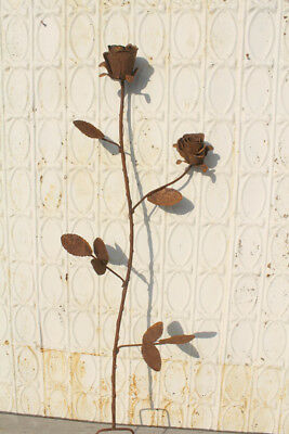 Recycled Metal Double Rose Stake Home Decor Garden Accent