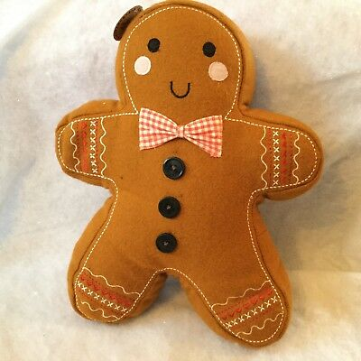 Gingerbread Man Shaped Pillow Cushion Felt Christmas Decoration Sass & Belle