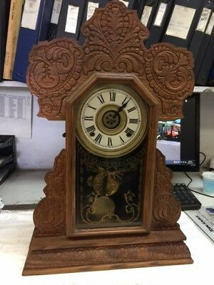 Antique The E. Ingrahm Co.  Oak Mantel Clock With Shelf