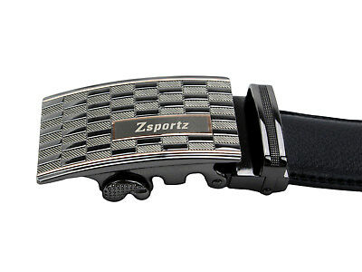 Zsportz Men's Automatic Adjustable Ratchet Genuine Black Leather Belt Easy Fit