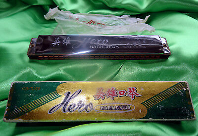 """Wooden Frame """"hero"""" Harmonica  In Original Box - 48 Holes - Excellent Condition"""