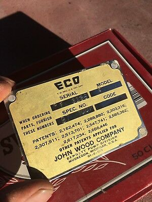 "Original"" NEAR MINT""..Brass ECO 97 SERIES AIR METER ID PLATE OR TAG"