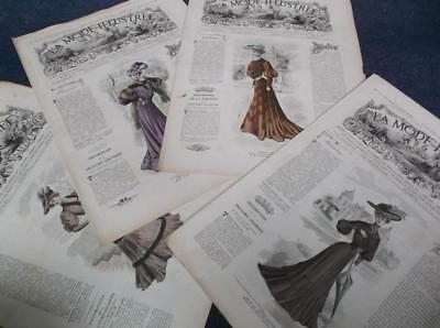 Lot of 4 French sewing clothes vintage 1900s Edwardian mode illustree magazines