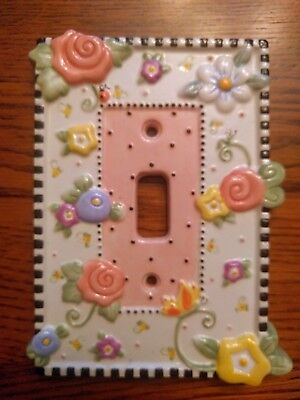 Ceramic MARY ENGELBREIT 1999 Pink Rose Meadow Single Light Switch Cover Plate