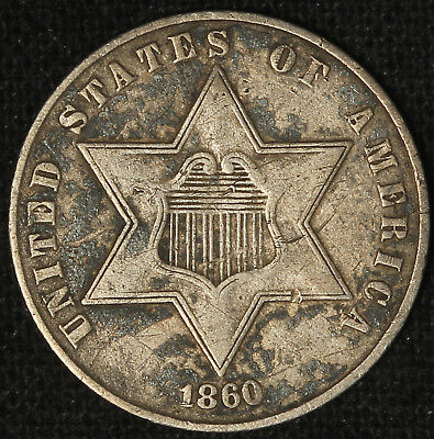 1860 Silver Three-Cent Piece - Free Shipping USA