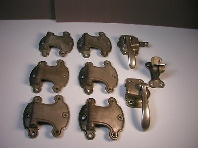 Vintage Ice Box/Refrigerator Hardware Hinges, Latches, Cooler Parts -  Lot of 9