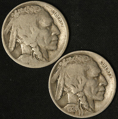 1916-D and 1924-D Buffalo Nickels - Free Shipping USA