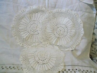 "Lot of 3 11"" round Hand- crocheted doilies - no damage to the work"