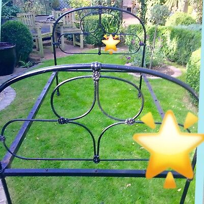 Vintage Single Cast Iron Bed .EXCELLENT CONDITION FOR AGE  no blemishes on heads