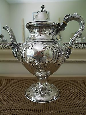 REPOUSSE COIN SILVER Coffee Pot by Henry L. Webster  1862