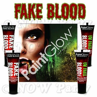 FAKE BLOOD  Halloween Red Vampire Zombie Face Make Up Fancy Dress Theatrical Fun