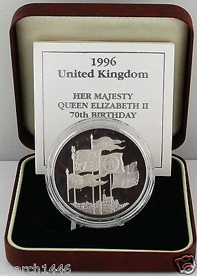1996 Royal Mint Queen's 70th Birthday Silver Proof Crown £5 coin COA and RM Box