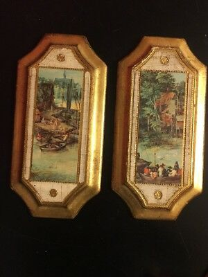 Beautiful VINTAGE   Florentine - Tole Wall Paintings/Plaques, Italy