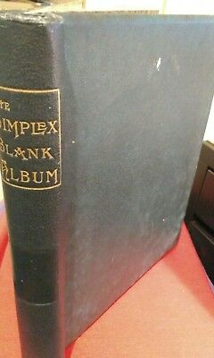 Simplex Blank Album, green with G.B. and world stamps (around 150) in it.