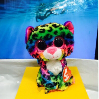 Cute  Color leopard TY Beanie Boos Plush Stuffed Toys Glitter Eyes (6 inch)