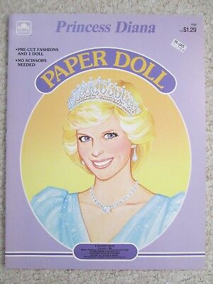 PRINCESS DIANA PAPER DOLL~Unused~1985 GOLDEN BOOK~Tiara~