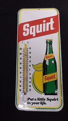 Vintage Squirt Soda Metal Thermometer 1977 *nice* Works Sign