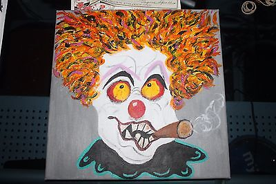 Creepy  Scary  Clown   Oil Painting     On Canvas  12 x 12