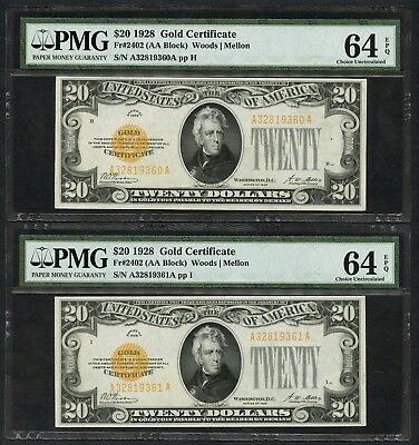Fr2402 1928 $20 Gold Notes 2 Cons. Both Notes Grade Pmg 64 Epq Gem Unc Wlm1899