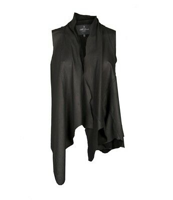 AS NEW ALL SAINTS YURA Black Leather Distressed Gilet Vest Waterfall Draped - 6