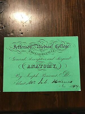 1844 Medical Lecture Ticket General Descriptive Surgical ANATOMY Signed Pancoast
