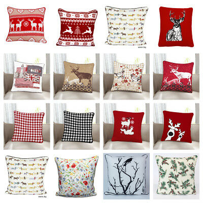 "Christmas Cushion Cover Cotton Xmas Festival Pillowcase 18"" x18"" BEST QUALITY"