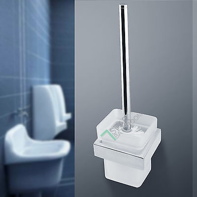 Toilet Brush Holder SET Square Stainless Steel & Glass Cup Bathroom Accessories