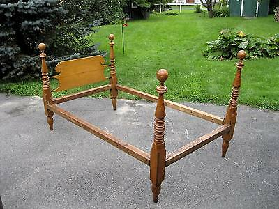 """Antique 1840's Tiger Maple Rope Bed """" Rare Solid Tiger Maple Post """""""