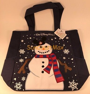 Walt Disney World Winter Canvas Tote Bag Snowman with Mickey Ears Navy Blue