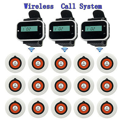 Wireless Paging System 3*Watch Receiver Host w/15*Call Transmitter Button Pagers