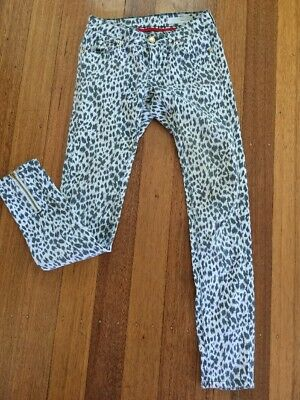 As New Sass Bide Leopard Print Skinny Mid Rise Jeans 24 Or 6