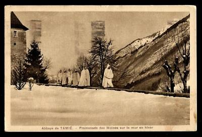 "1¢ Wonder's ~ Postcard W/ ""monks Walk On The Wall"" Tamié Abbey, France ~ C842"