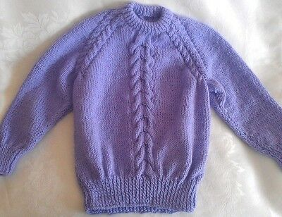 Hand Knitted Girls Lavender Cable Knit Kids Sweater Size 5T-6T Handmade NEW