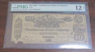 1861 $10 Confederate States of America * PMG Graded 12 * T-29 * Neat Old Note