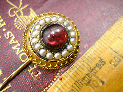 Antique Victorian Garnet 15ct Gold Locket Mourning Pin Seed Pearls Cannetille