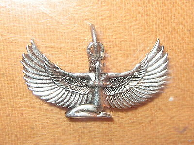 New 35Mm Silver Tone Egypt Egyptian Isis Winged Goddess Pendant Charm  Necklace