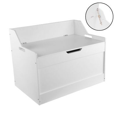 White Wooden Toy Storage Box Chest MDF Games Organiser Unit Bedroom Bench Stool