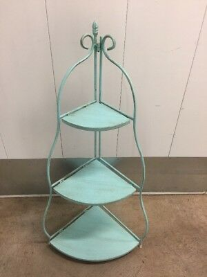 Metal Three Shelf Folding Plant Stand - Rustic Aquamarine