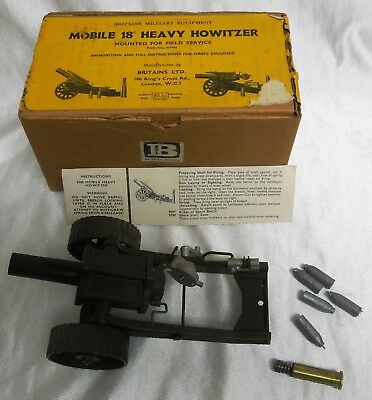 "Britains Mobile 18"" Heavy Howitzer Mint in Box and Fires"