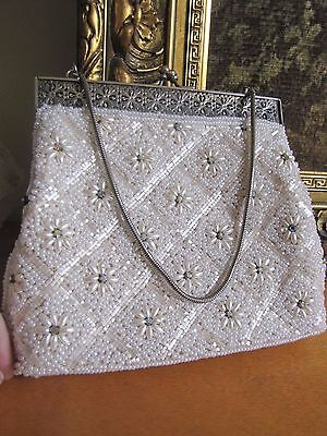 *LOOK* Vintage 50s/60s Silver Toned Beaded Bag Purse Excellent Condition!