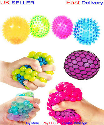 SQUISHY MESH BALL ANTI STRESS x12 Flashing LED Spiky Ball Autism Party Bag GIFT