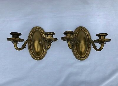 Antique Neoclassical Embossed Laurel Brass Wall Sconces Electric Candle c. 1900
