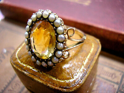 Antique Georgian Ring Gold Topaz in Seed Pearls 9ct in leather Box Regency