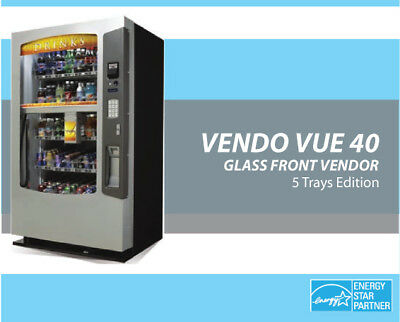 DRINK VENDING MACHINE -Vendo Vue 40 !! ROBOTIC GLASSFRONT (BOTTLE/CAN/TETRA)