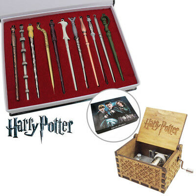 Xmas 11PCS Harry Potter Hermione Dumbledore Snape Magic Wands + 1x music box