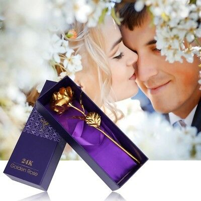 Romantic Special Day Gift Long Stem 24k Gold Color Leaf Rose Flower Love Forever