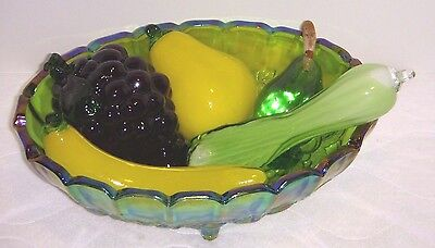 Vintage Lot Of Blown Glass Fruit & Veggies - W/ Indiana Carnival Iridescent Bowl
