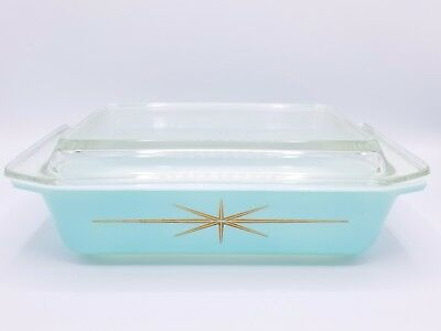 Vintage PYREX 575-B Space Saver - Gold Starburst - Blue - Turquoise - With Lid