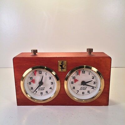 APFV Rolland Mechanical Chess Clock Working Order Wooden Case