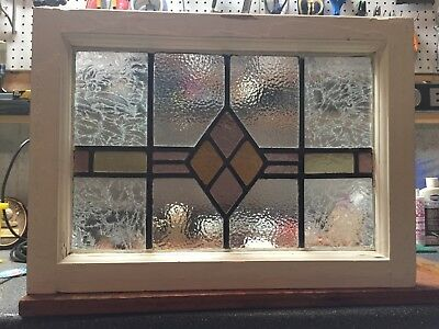 """Antique Leaded Stained Glass, Wood Window Frame 21"""" X 15 1/2"""""""